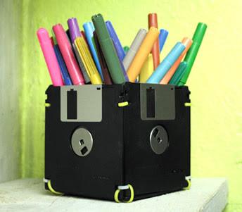 reciclagem disquetes Reciclagem de Disquete como porta lápis