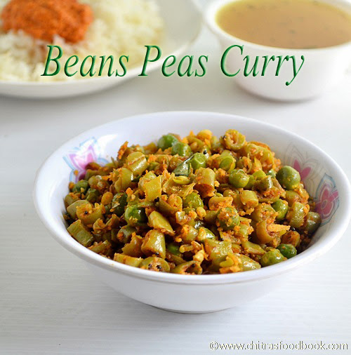 Beans peas poriyal for rice - Suji idli with Eno, curd