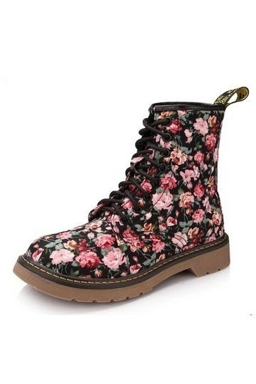 Stylish Floral Lace-up Martin Boots