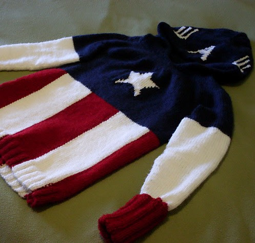 Free knitting pattern for Captain America Hoodie Sweater
