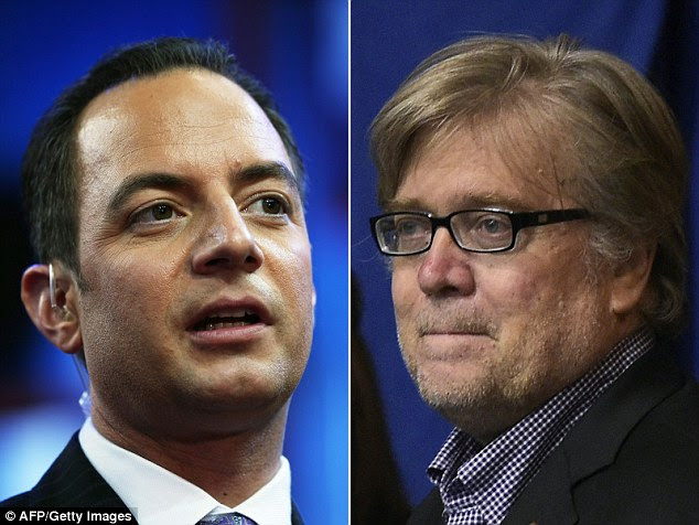 Conway told reporters that she believes RNC chairman Reince Priebus (left) has expressed interest in the position. Steve Bannon (right), campaign CEO for Trump is also being considered for chief of staff