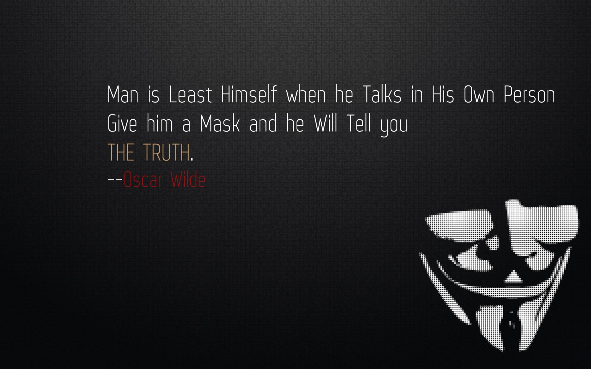 Man Is Least Himself When He Talks In His Own Person Give Him A Mask