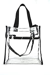 Amazon.com : Clear Tote Stadium NFL Approved Bag 12 x 12 x 6 With Zipper and Shoulder Strap