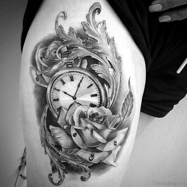50 Top Class Clock Tattoos On Thigh