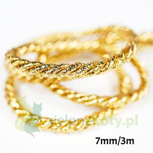 Sznurek gruby złoty błyszczący 7mm / 3m