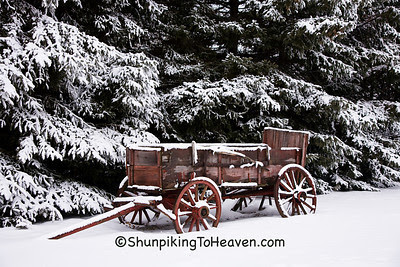 Old Buckboard Wagon in the Snow, Dane County, Wisconsin