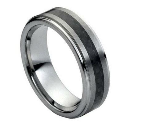 Tungsten Carbide Men's Wedding Band Ring 7MM with Carbon