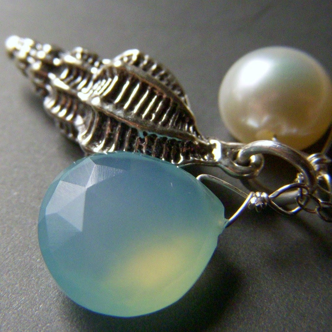 Under the Sea Necklace - Chalcedony and Pearl