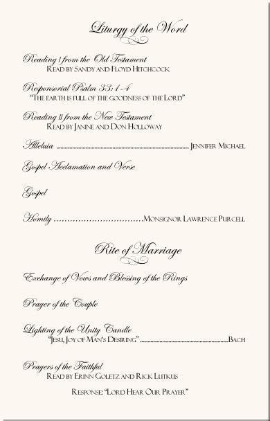Free Catholic Wedding Program Template 6 Wedding