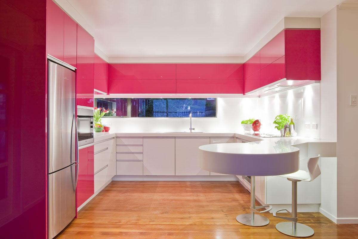 pink modern kitchen | Interior Design Ideas.