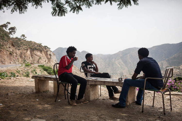 Three young Eritreans enjoy the view from the escarpment outside the Eritrean capital of Asmara. The country on the Horn of Africa is a poor land with a secretive government that imposes open-ended military conscription on youths, and about 1 in 50 Eritreans sought asylum in Europe between 2012 and mid-2015, according to the European Union statistics agency Eurostat. Read more about what it's like inside Asmara, one of Africa's most isolated capitals.