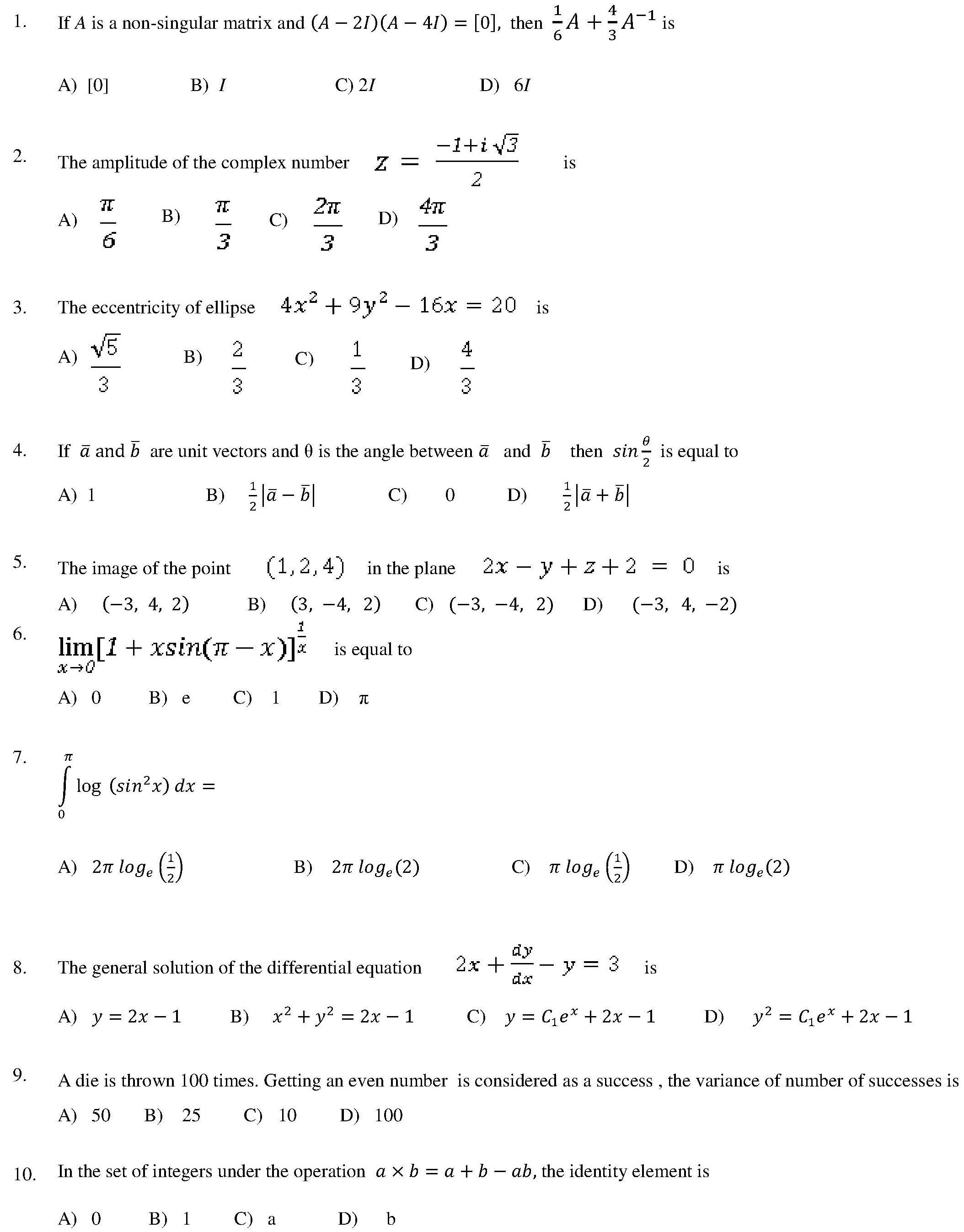 Viteee 2017 Sample Question Paper Mathematics Aglasem