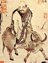 The image, from wikipedia, shows Lao zu leaving China on his water buffalo.