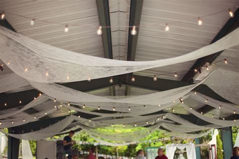 lighting & draping for a covered picnic shelter   C & C