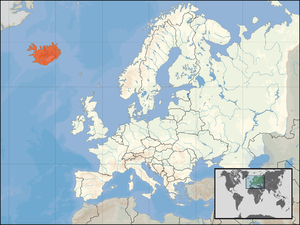 Location of Iceland in Europe on 1. Januar 2007