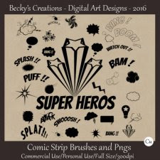 Comic Strip Brushes and Pngs - ABR and Pngs - Beckys Creations