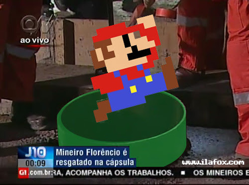 resgate dos mineiros no chile, super mario saindo do cano by ila fox