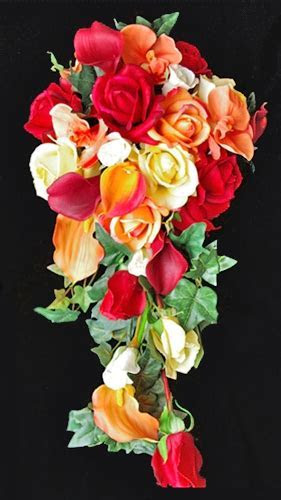 Natural Touch Off White Roses, Red & Orange Calla Lilies