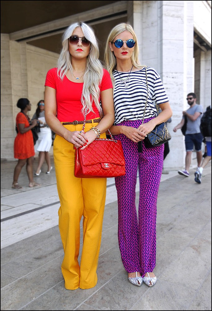 26 2w red tee top yellow pants red chanel bag b and w striped top purple and magenta print pants chanel bag round sunglasses
