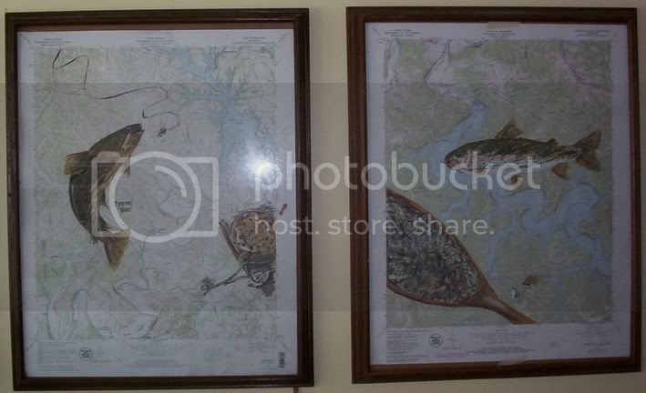 handpainted fly fishing trout maps artwork