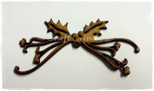 *New*Wooden Flourishes-Holly Bow