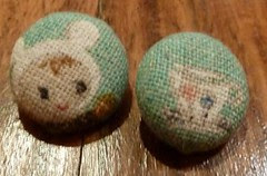 Handmade children's buttons in a Japanese fabric
