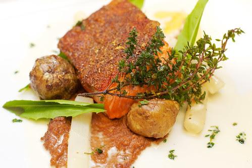 Seared Steelhead Salmon, fish, meals, restaurants, food, cooking, charcoal