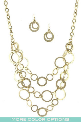 Multi Rings Necklace Set