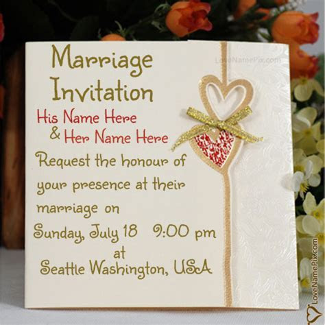 Write Name on Marriage Invitation Cards Designs Online