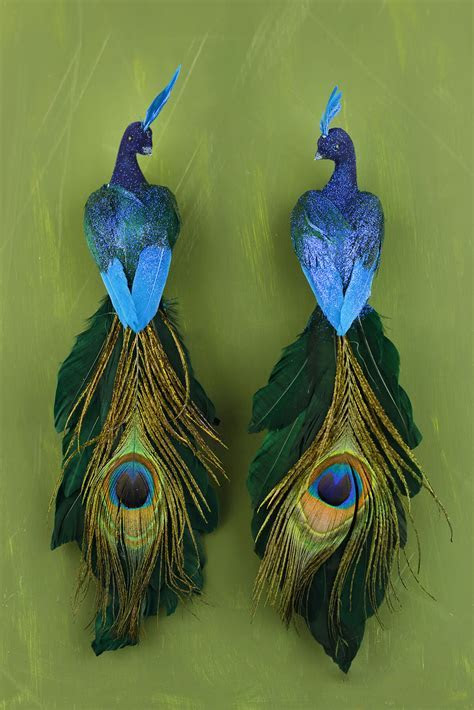 """Blue Peacock Birds (set of two) 11"""""""