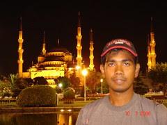 Blue Mosque di Waktu Malam, Istanbul, Turkey