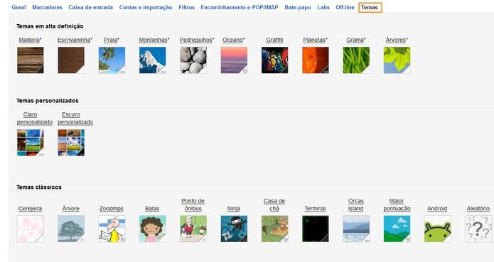 Opções de temas para incrementar o Gmail (Foto: Reprodução/Barbara Mannara)