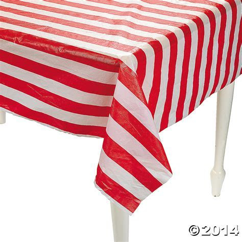 Red & White Striped Plastic Tablecloth Roll 100 ft Party