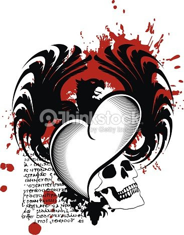 Fondo De Tatuaje De Corazón Negro De Alas De águila Heráldica Arte