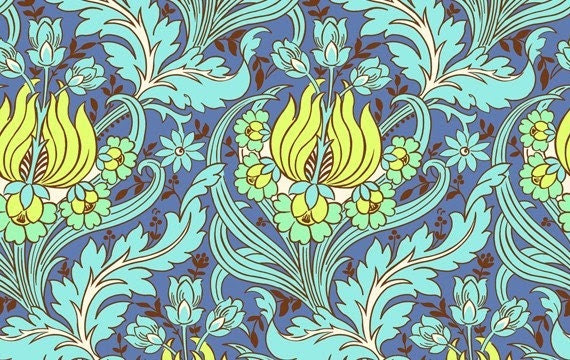 Amy Butler Soul Blossoms Temple Tulips in Azure FQ fat quarter yardage
