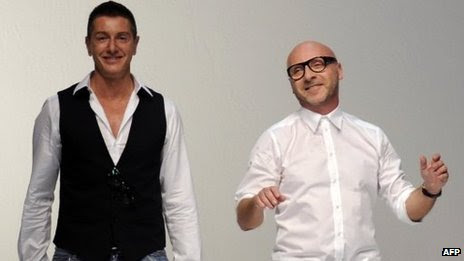 Italian fashion designers Domenico Dolce (r) and Stefano Gabbana in a 2011 file image