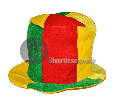 Chapeau Carnaval De Clown Rouge Jaune Vert