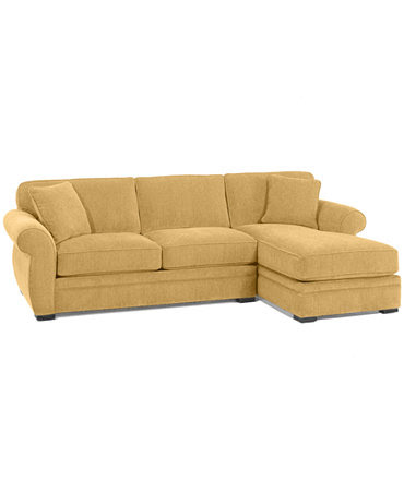 Devon Fabric Sectional Sofa, 2 Piece (Apartment Sofa and Chaise ...