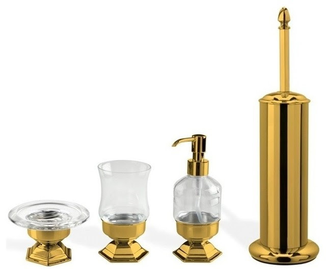 4 Piece Gold Free Standing Accessory Set Contemporary