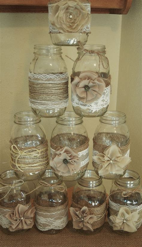Set of 10 Mason Jar Sleeves, Burlap Wedding Decorations