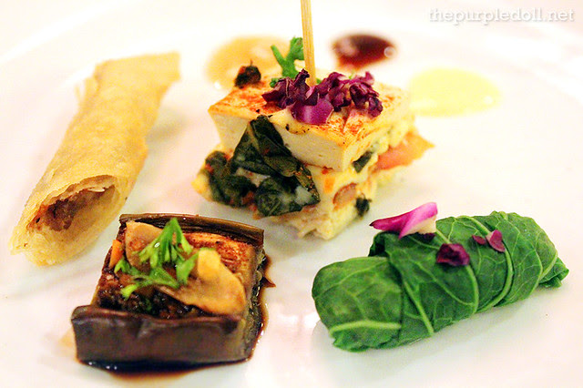 Steamed Tofu Cake, Mustasa Wrap, Baked Aubergine and Cumin, and Fried Lumpiang Shanghai