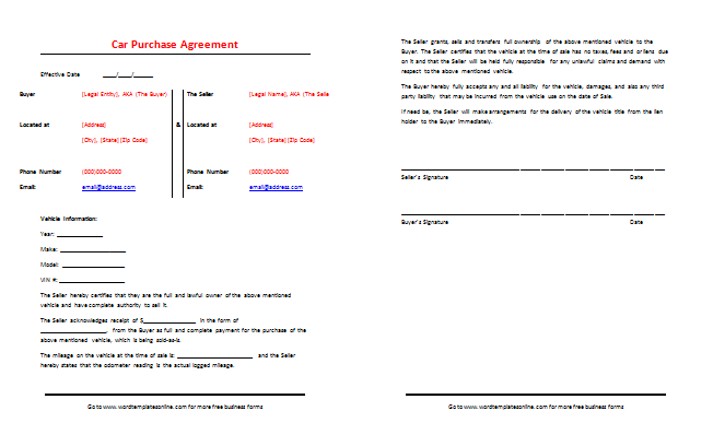 Car Purchase Agreement Template Sample and Format ...
