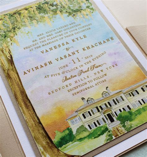 Watercolor Venue Illustration Wedding Invitation