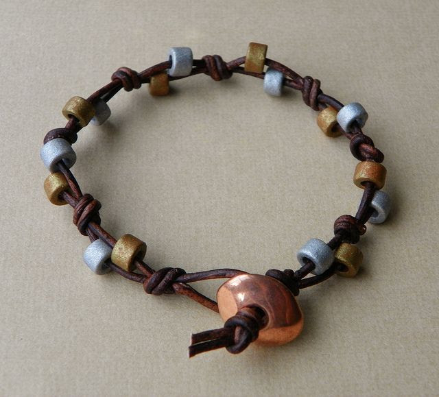 Beaded Leather Bracelet by Erin Siegel Jewelry,