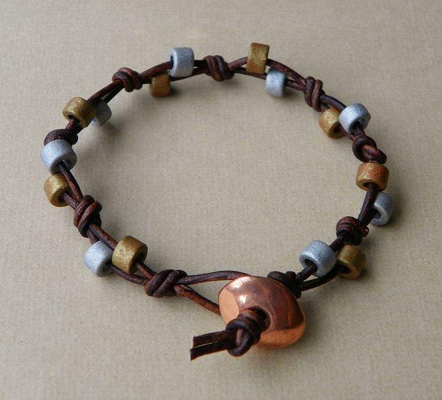 Beaded Leather Bracelet by Erin Siegel Jewelry,