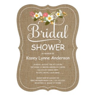 Rustic Burlap Floral Wreath Bridal Shower Custom Announcement