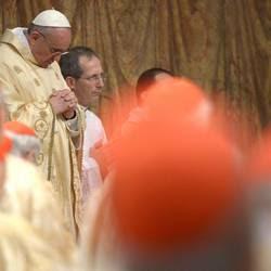 Papa Bergoglio alla sua prima messa con i cardinali