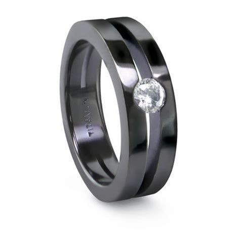 SPLIT BAND BLACK Wedding Band ? Edward Mirell ? Titanium