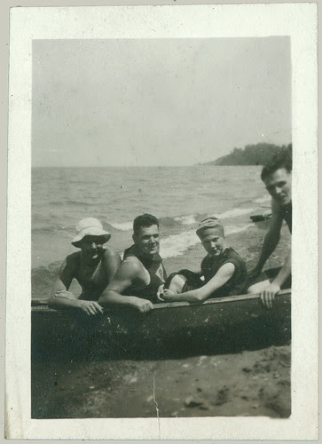 Four sitting in a canoe