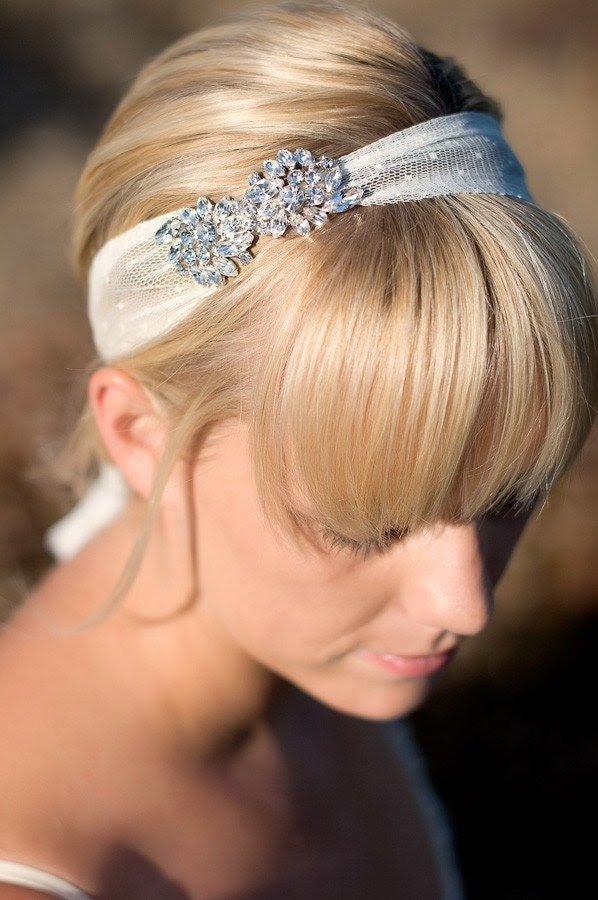 ADDIE - Brooch and Tulle Headband